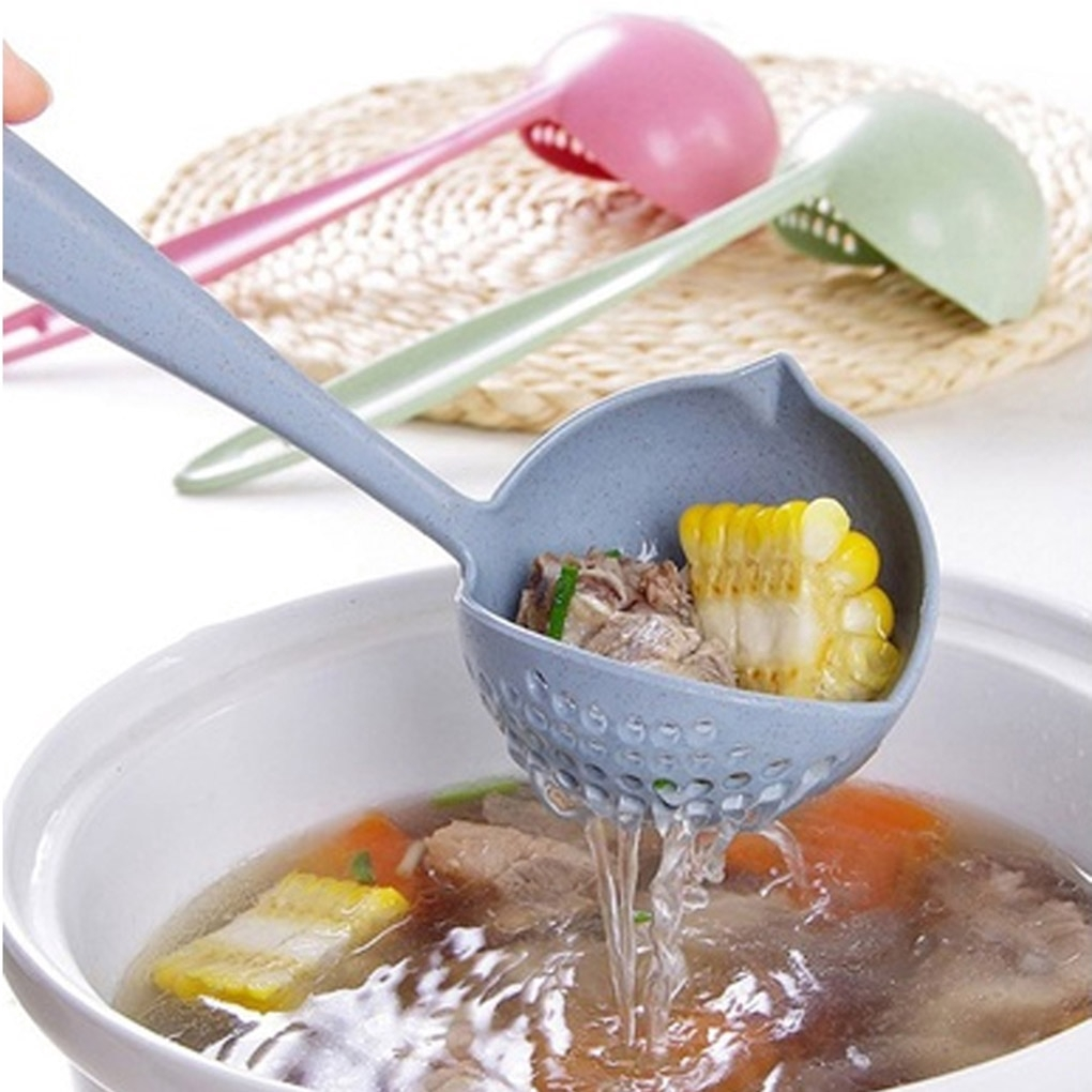 10 Pcs Plastic New Noodle Rice Soup Spoons Long Handle with Hook Kitchenware