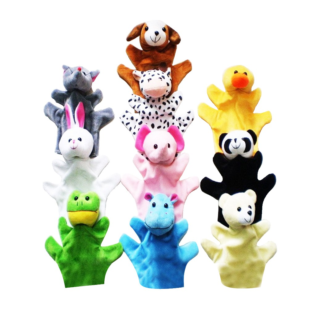 Set of 10 pieces Hand Finger Puppets Cartoon Plush Animal Educational Toys