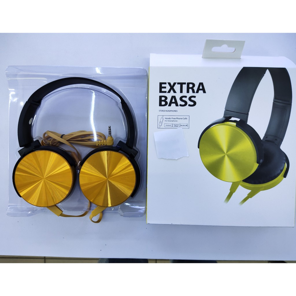 Extra Bass Stereo Headphones Headset Bass Booster 3.5mm L-Shapped gold plated hand free phone call for smartphone