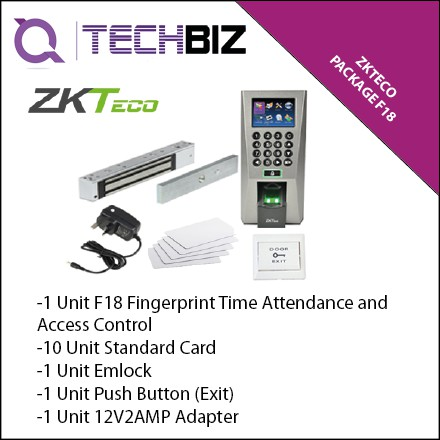 ZKTeco Package F18 Fingerprint Time Attendance and Access Control