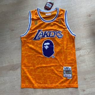 New Men/'s Los Angeles Lakers #93 Snoop Dogg Basketball jersey joint BAPE yellow