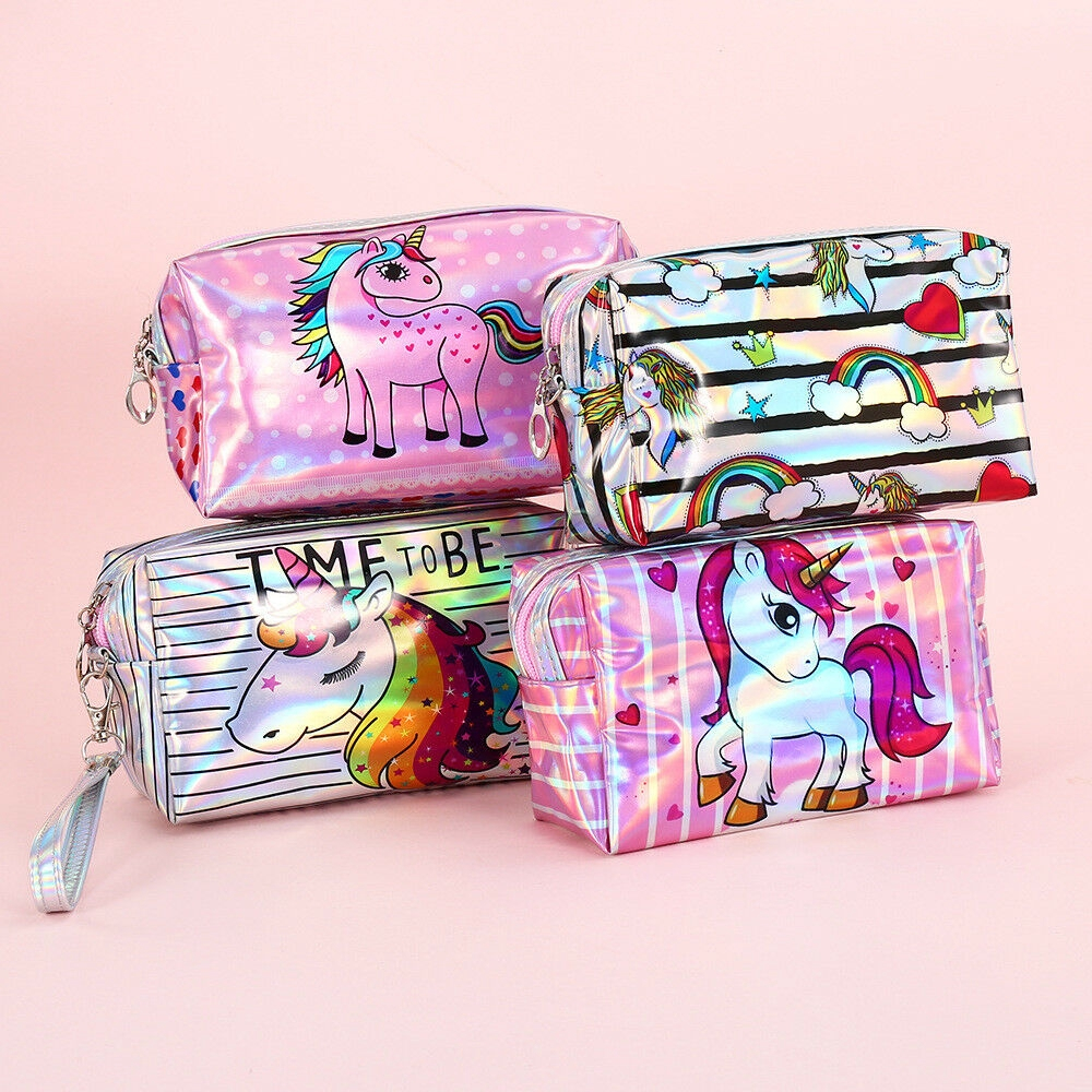 878c2f80f9ca Women Unicorn Makeup Bag Laser Holographic Travel Cosmetic Storage Pouch  Purse