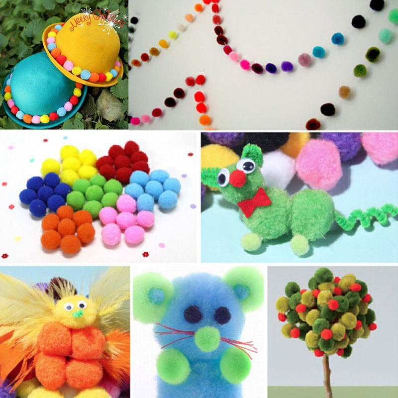 15MM # CRAFT//JEWELLERY MAKING 25 BRIGHT COLOURED FLUFFY FELT POMPOMS