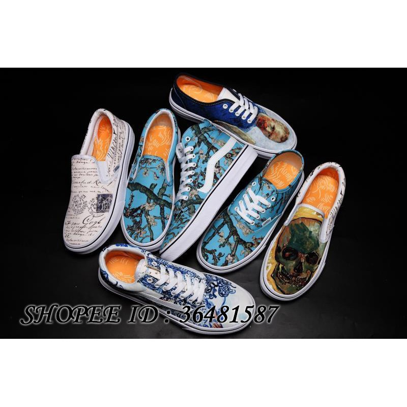 e63ebb29a7 Original VANS SK8 x Van Gogh Museum Limited Canvas Shoes Almond Blossom