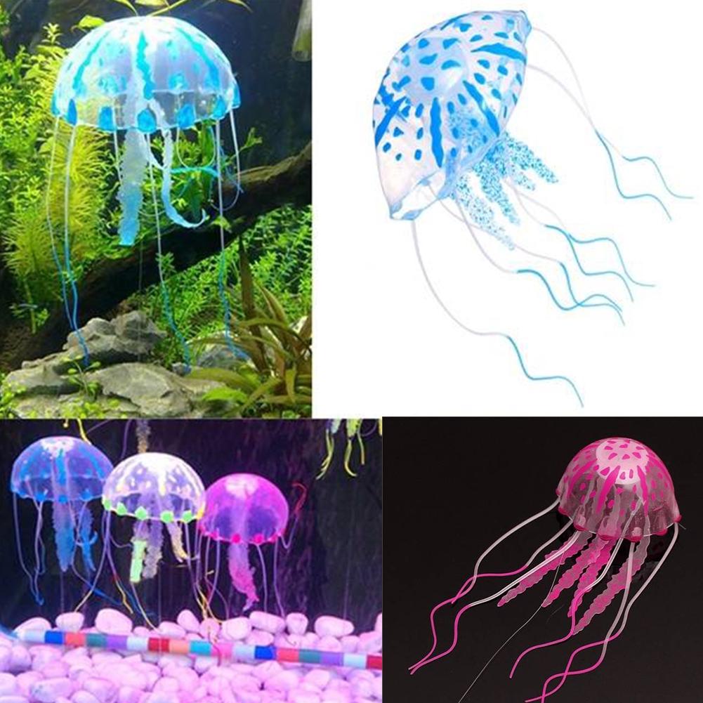 Artificial Glowing Jellyfish Ornament Decoration For Aquarium Fish Tank