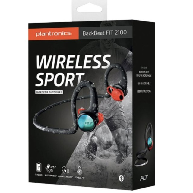Plantronics BackBeat FIT 2100 Wireless In Ear Headphones-Black/ Grey/ Blue