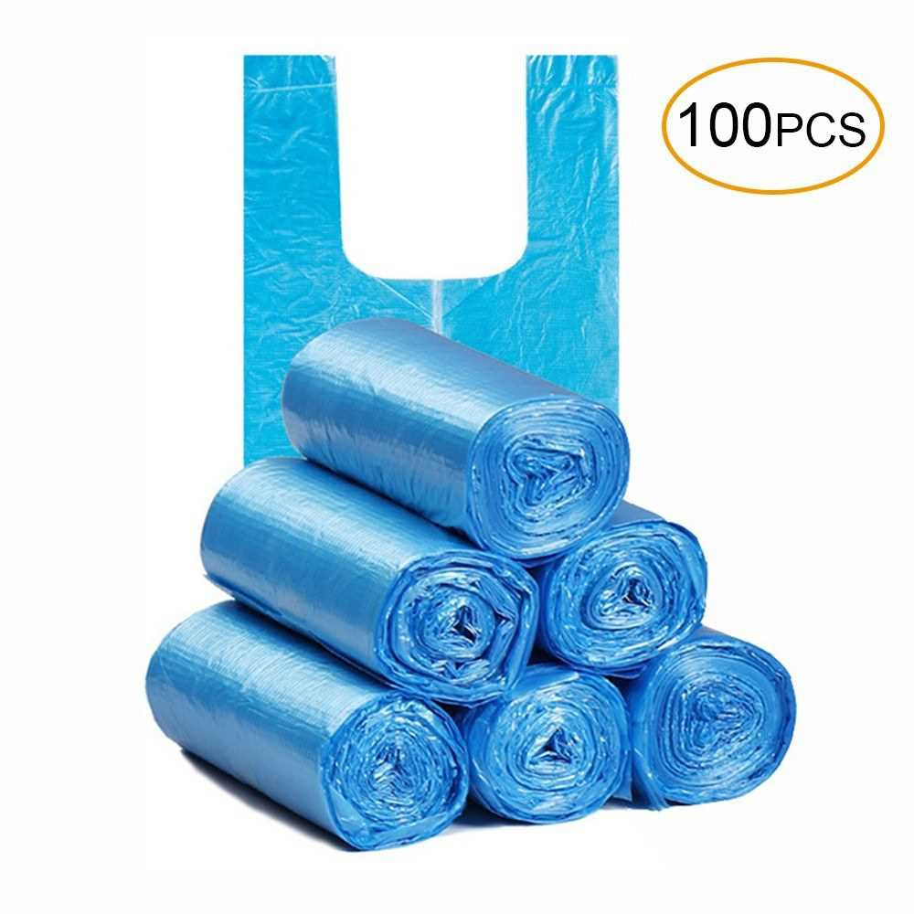 Disposable Thickened Garbage Bag with Handle Tie 100 Pcs Portable Household Heavy Duty Trash Bags (Blue)