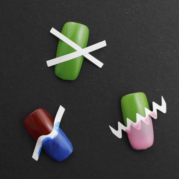 French Nail Art Tip Guide Stripe Zig Zag Round Sticker Heart Star Curve