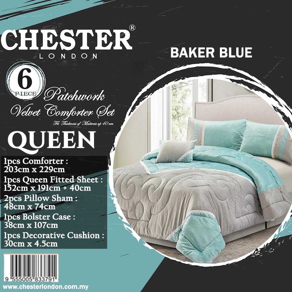 Chester London 6pcs Patchwork Velvet Comforter Set , Queen - BAKER