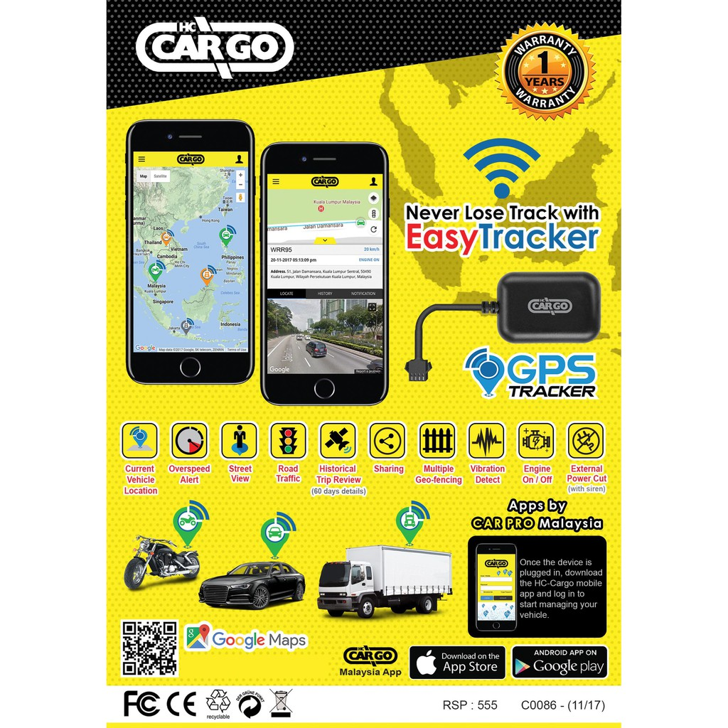 HC-CARGO Plug and Track Real Time Monitor Anti-theft Easy GPS Tracker  Locator