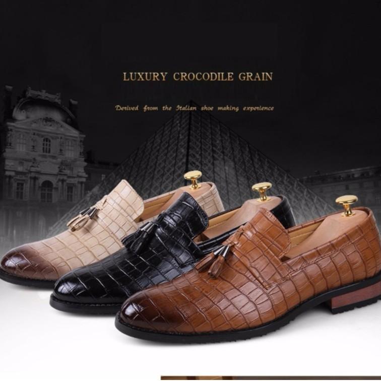 Inlike mens pointed toe dress shoes famous tassel italian formal fashion  oxford