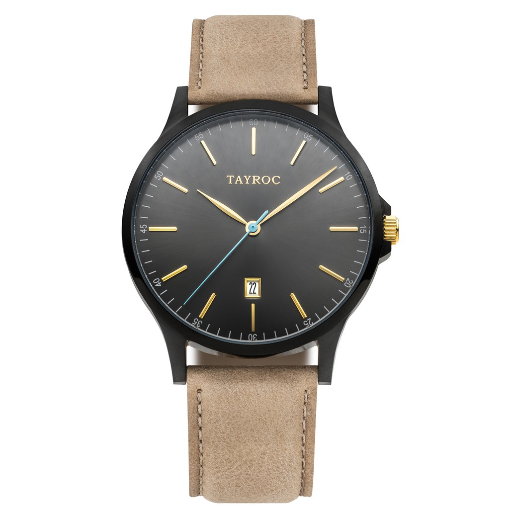 Tayroc | txm 099 Black Gold / Khaki leather strap
