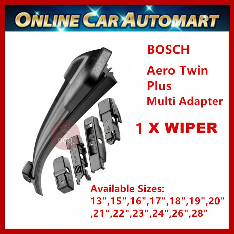 """Bosch Aerotwin Plus Wiper Blade With Innovative Adapter (Sizes:13"""",15"""",16"""",17"""",18"""",19"""",20"""",21"""",22"""",23"""",24"""",26"""",28"""")"""