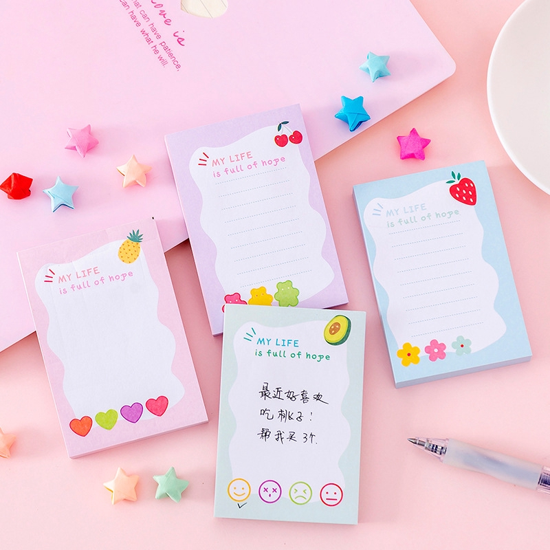 Kawaii Flower Cloud Memo Pad Sticker Cute N Time Sticky Notes Office Supply