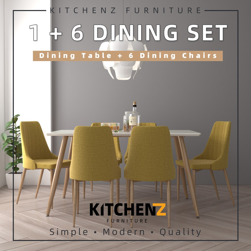 KitchenZ Modern Dining Table Set 1 Table + 6 Yellow / Blue Dining Chairs - HMZ-FN-DT-JT01(14080)-WT