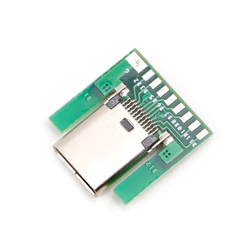 5PCS USB 3.1 Type C Male DIY Solder Cable Plug Socket Attached SMT with PC Board