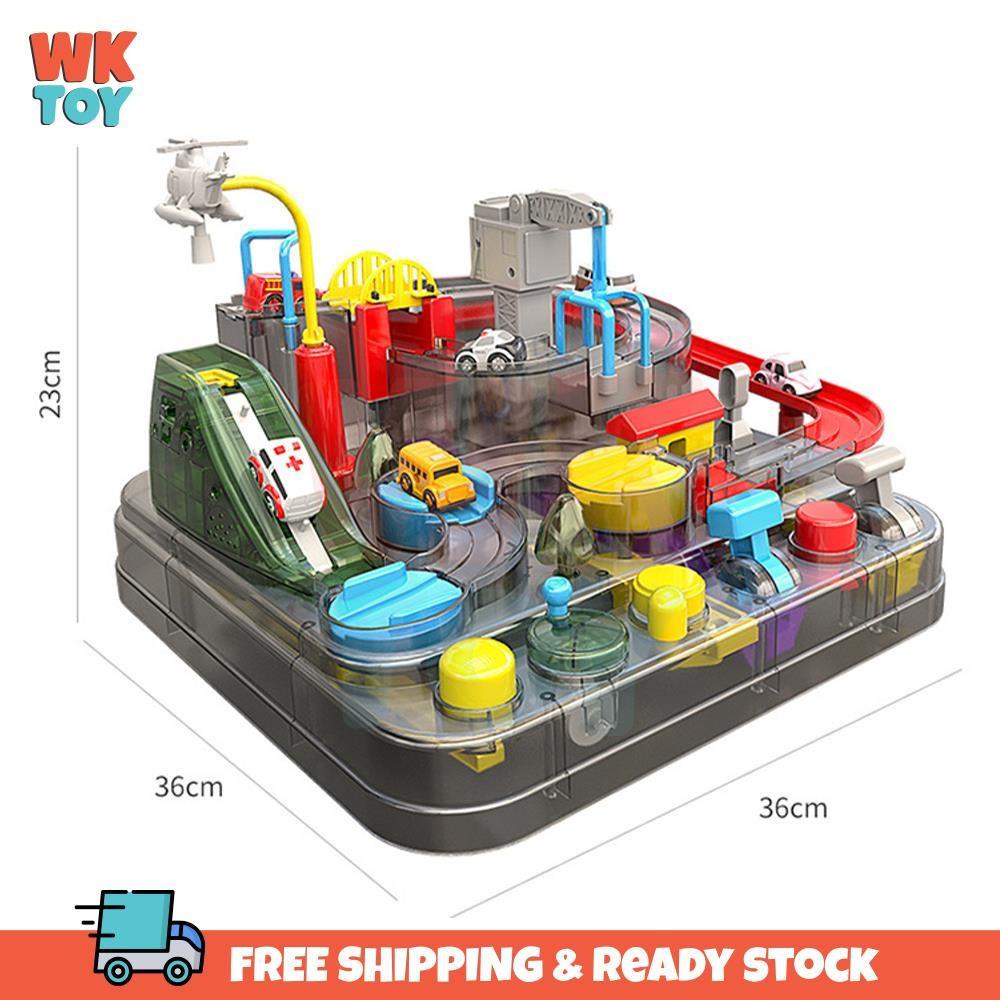WKTOY Transparent Big Size Manual Mechanical Car Adventure Rail Track Puzzle Toy for Children 汽车闯关 儿童 益智