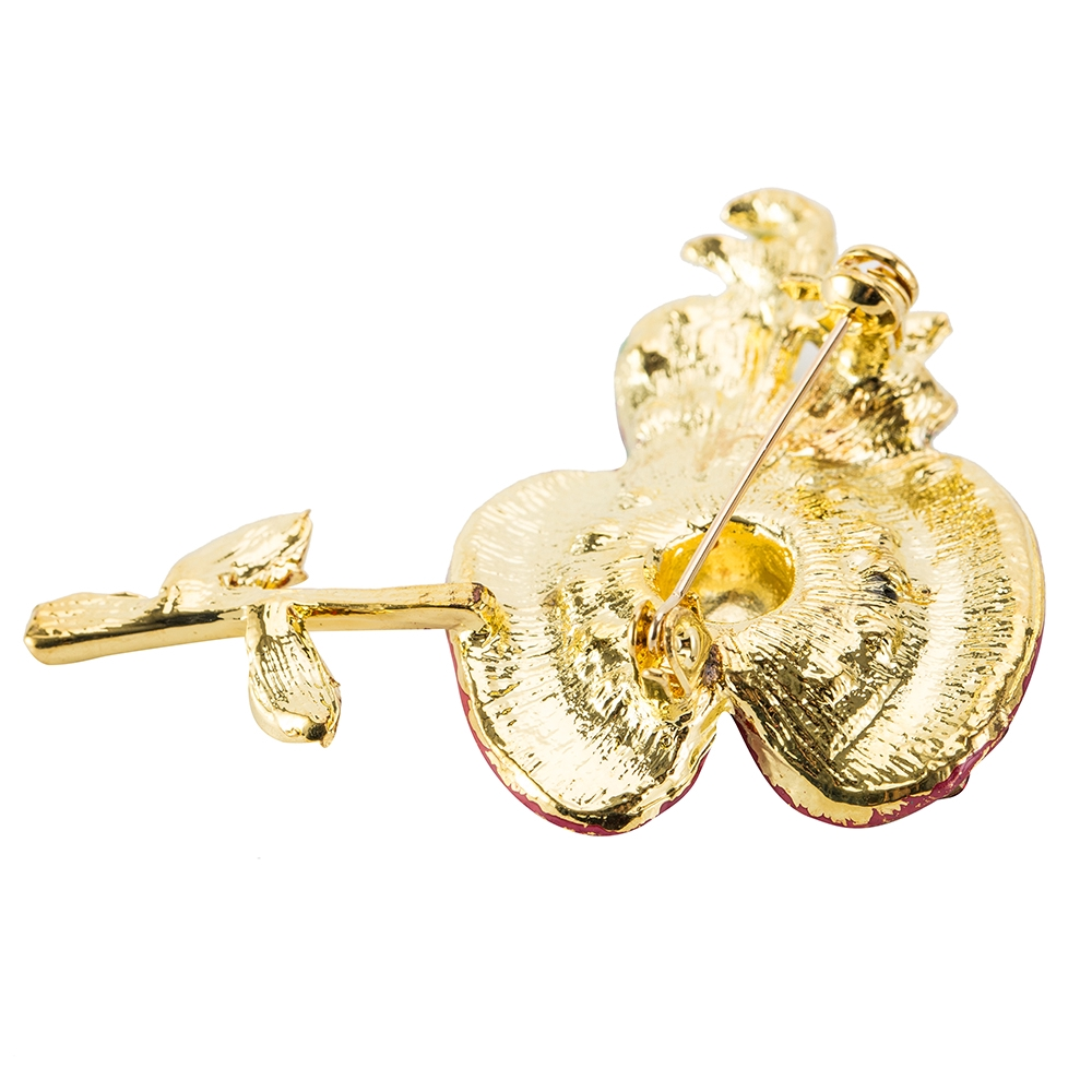 Red Flower Poppies Crystal Poppy Pin Brooch Enamel Badge Costume Jewellery