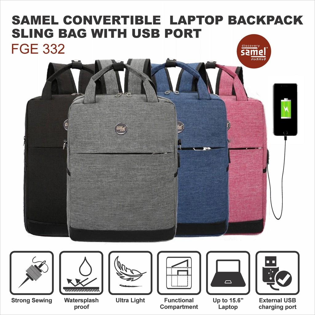 74784964a072 SAMEL FGE 332 CONVERTIBLE LAPTOP BACKPACK SLING BAG WITH USB PORT