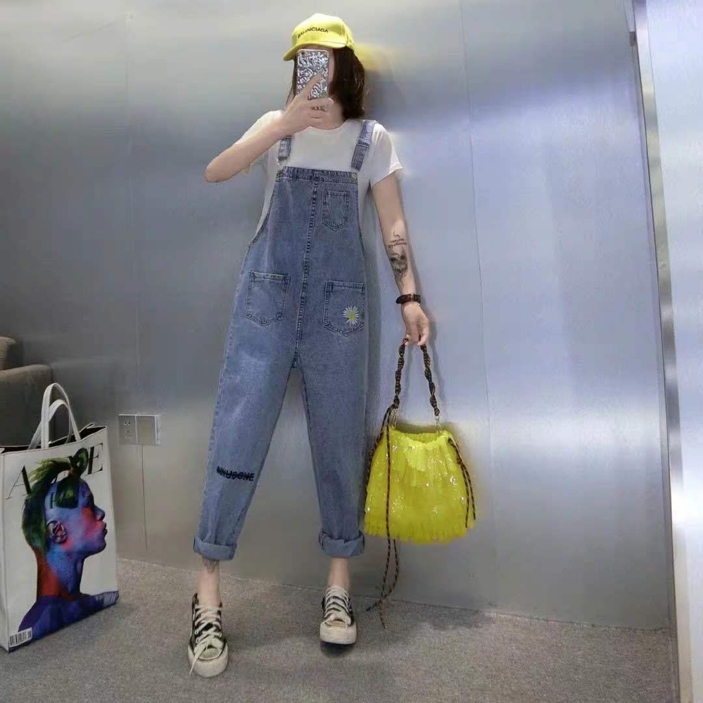 6 New Embroidered Age-reduced Denim Overalls Women Summer Korean Version  of Loose Nine Points Jumpsuit