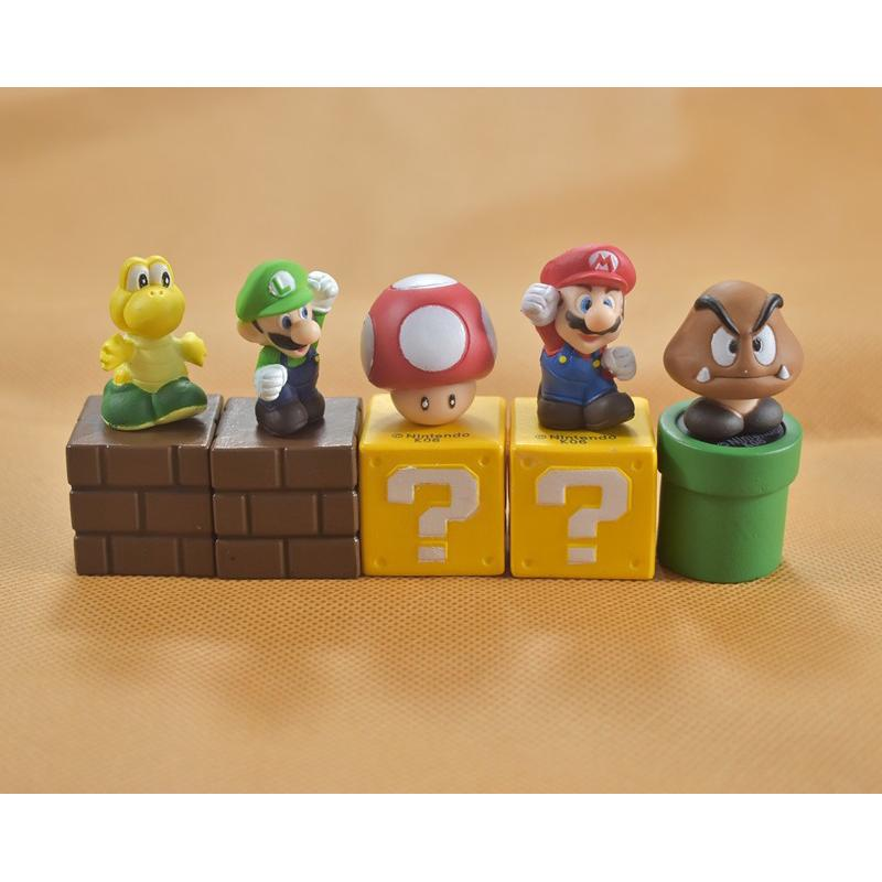 New Super Mario Bros Figures Toy Bundle 5cm 2 Mario Goomba Luigi