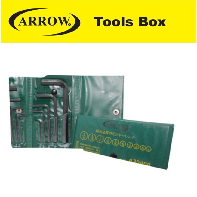 ARROW A30400  10 PIECES WALLET HEX WRENCH SET (AF) EASY USE SAFETY GOOD QUALITY