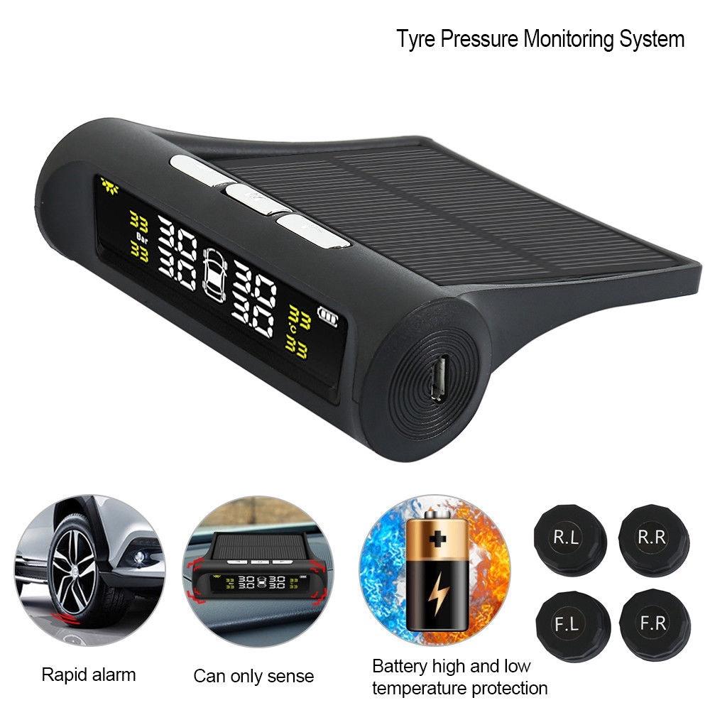 Wireless Solar TPMS Car Tire Tyre Pressure Monitoring System External 4  Sensor