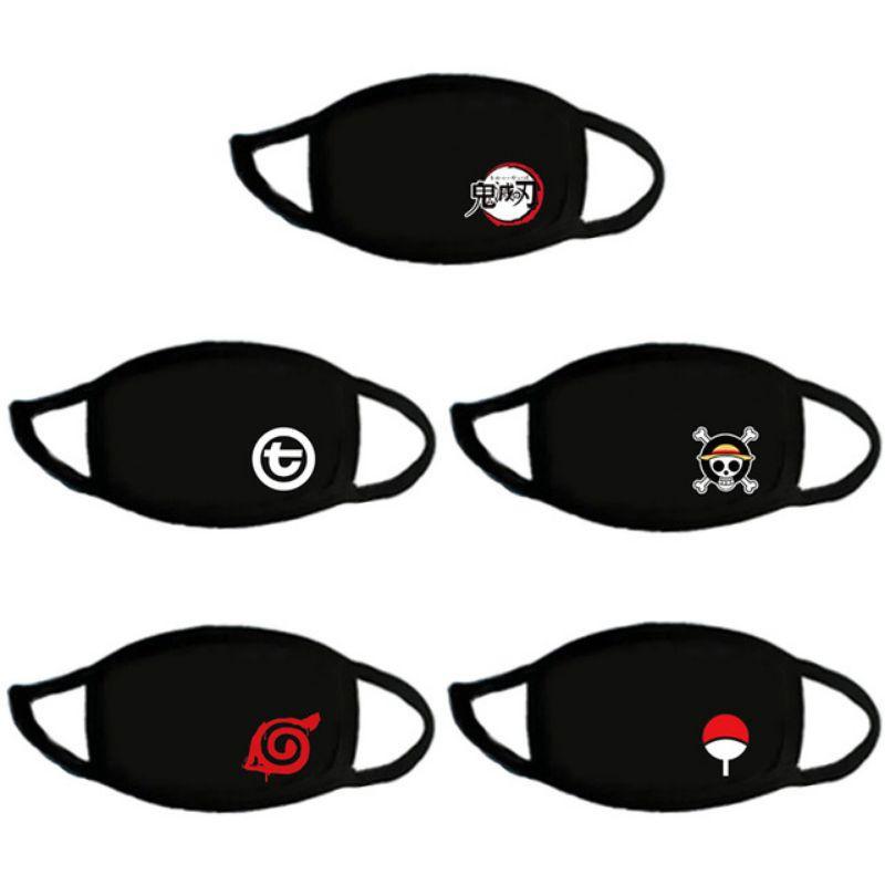 Fashion Face Mask Anime Cartoon Topeng Mulut Muka Mouth Mask Fabric Cotton One Piece Demon Slayer Naruto Cat Kiss L