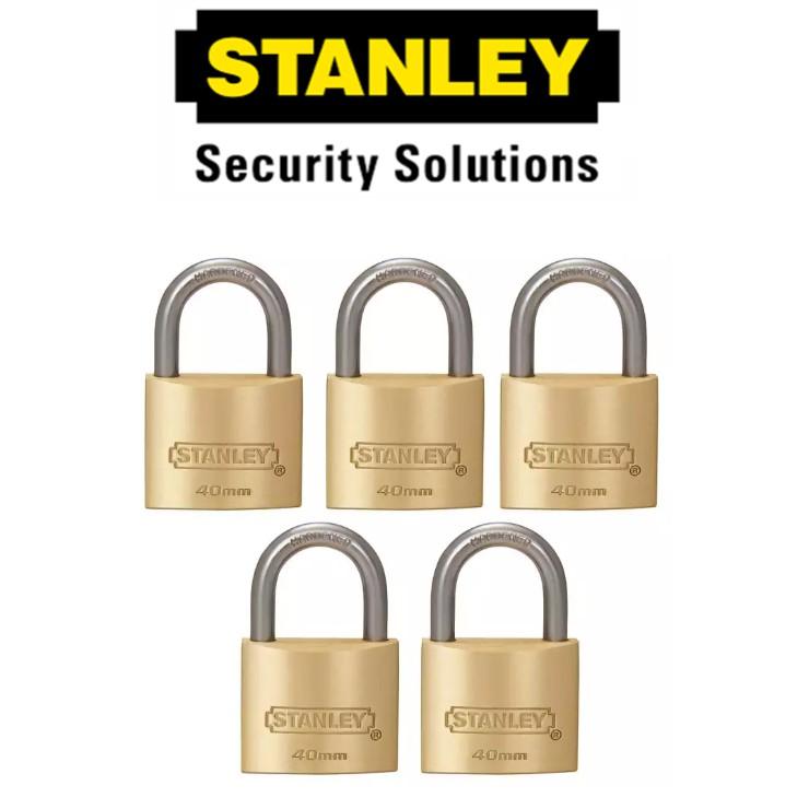 STANLEY STANDARD SHACKLE  KEY ALIKE BRASS PADLOCK  S827-435 40MM SECURITY LOCK