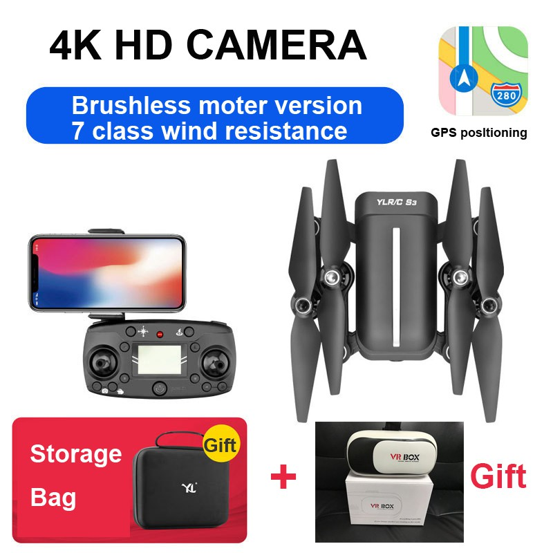 S3 RC 4K Camera Brushless Quadcopter GPS Folding Drone-- 5G WIFI, 1000M control distance, windproof 7