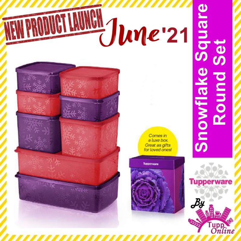 Original TUPPERWARE Snowflake Square Round Set (4)400ml (2)800ml (2)1.3L Purple Red Gift Set [ Ready Stock]