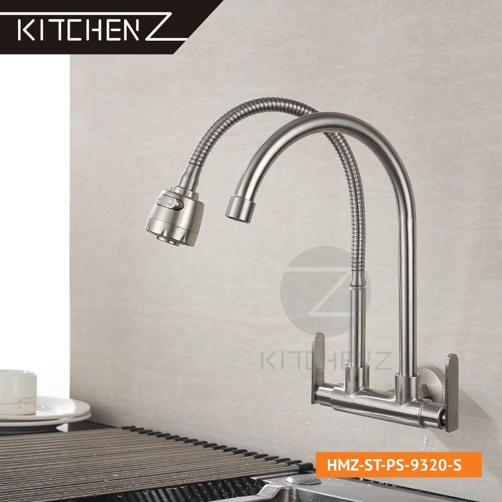 Kitchenz SUS304 Stainless Steel Double Flexible Hose 360° Swivel Spout + U Spout Kitchen Faucet Wall Sink Tap HMZ-ST-WS