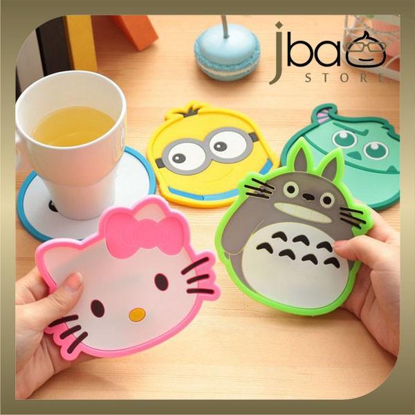 Totoro Hello Kitty Minion Owl PVC Coaster Cup Mat