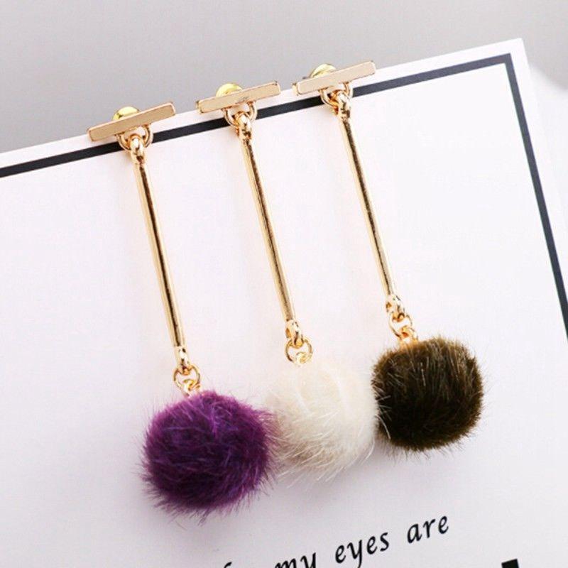 be71fa37e01df Women Super temperament Stud Earrings Hairball Long earrings