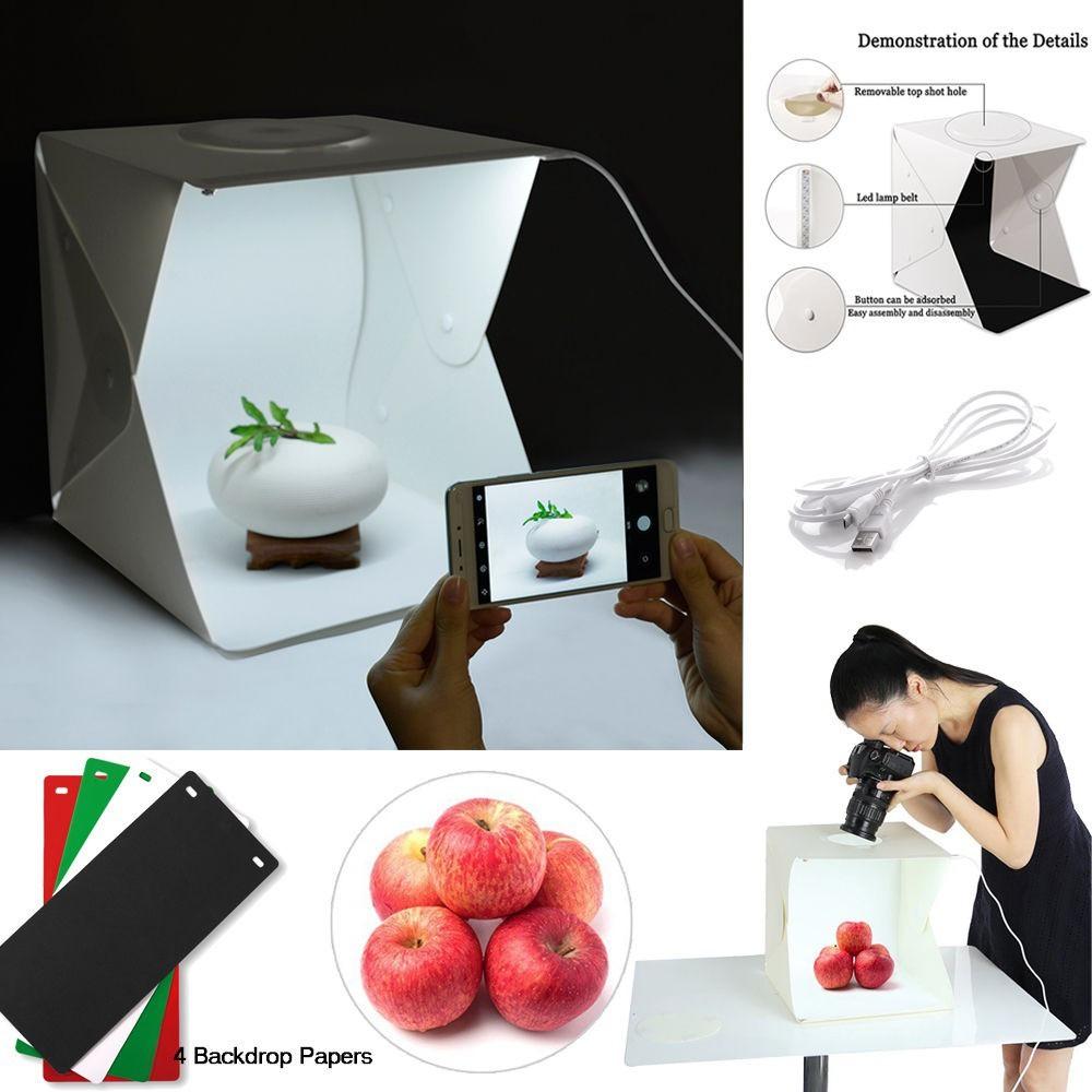 *SHIP 1DAY from MALAYSIA* Foldable Mini Studio 40cm LED Light Room 4 Colour Background Box