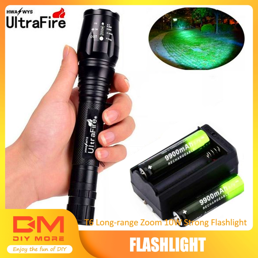 90000LM T6 LED Zoom Rechargeable High Power Torch Flashlight Lamp Light+Charger.
