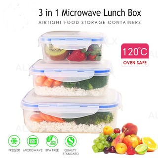 3 In 1 Microwave Safe Food Storage Container Lunch Box