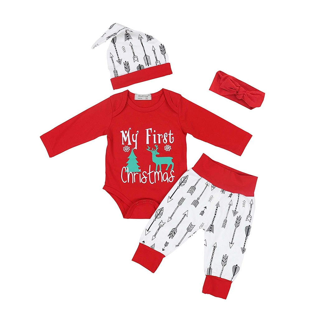 a0fe5eed1 4Pcs Baby Boys Girls My First Christmas Rompers New Year Outfit Set |  Shopee Malaysia