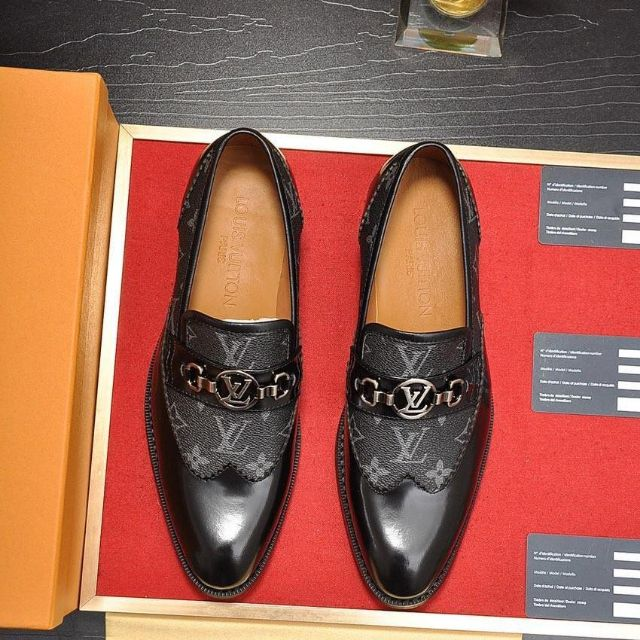 LV2019 new men's shoes, printed stitching leather dress shoes, office shoes, groom shoes BLACK 38-45 EURO
