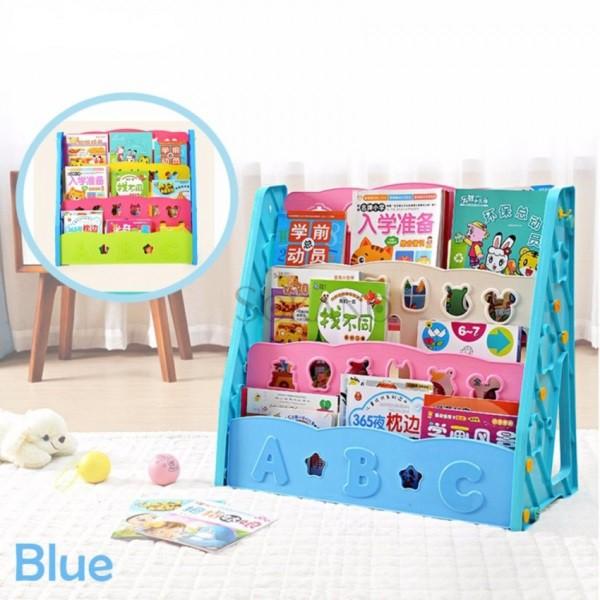 BD201 3 TIER COLOURFUL KIDS BOOKSHELF BOOK ORGANIZER (BLUE/PINK)