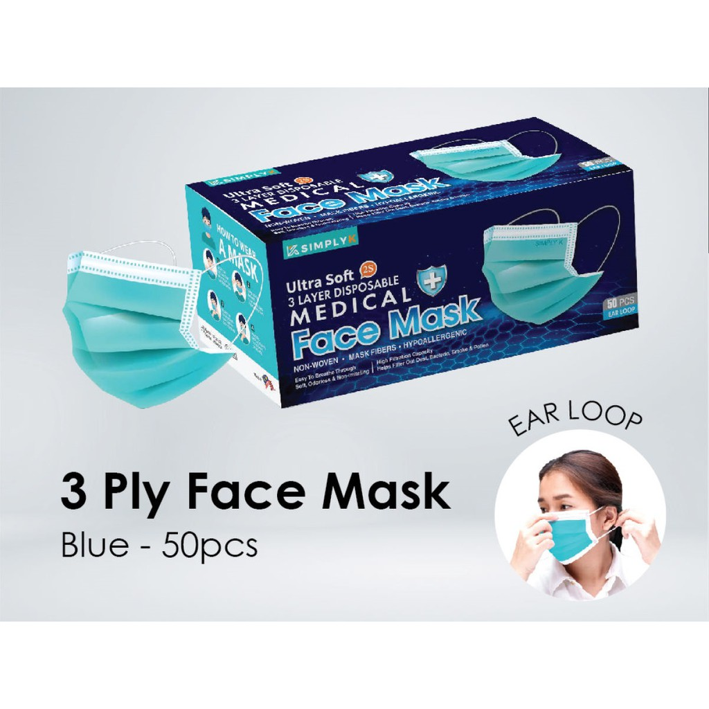 [Medical] [Aqua] Simply K EarLoop 3 Ply MDA Approved Face Mask with Above 99% BPE and 98% PFE