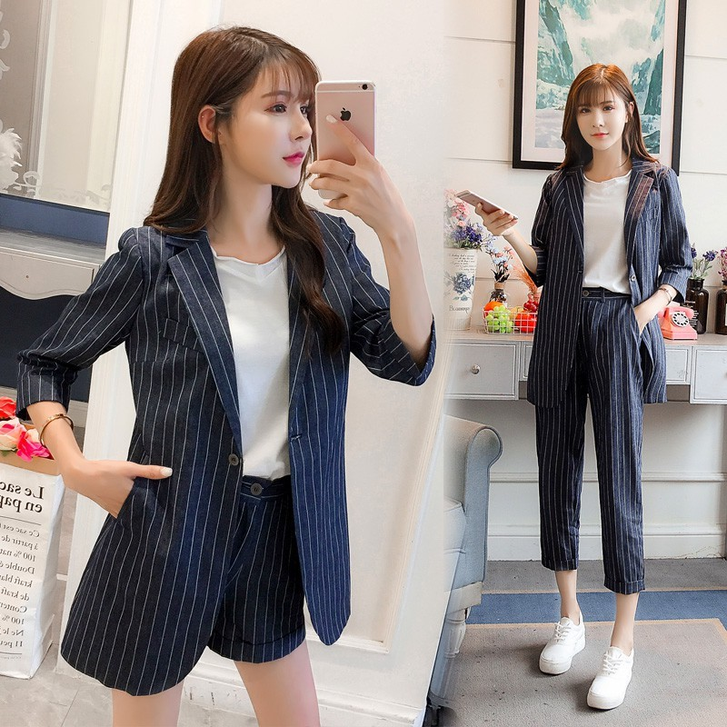design inovator stiluri clasice design de top Ladies Blazers Suit Office Wear Summer Trendy Shorts/Pants Set ...