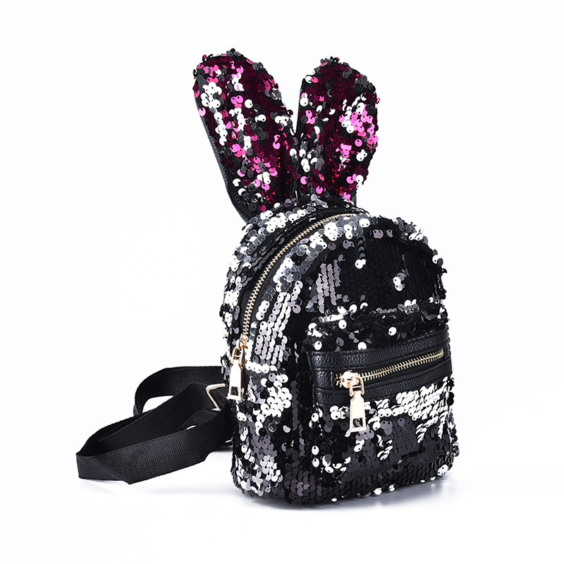 faaa0d2b1ac prior shinning bling sequins cute big rabbit ears backpack girls ...
