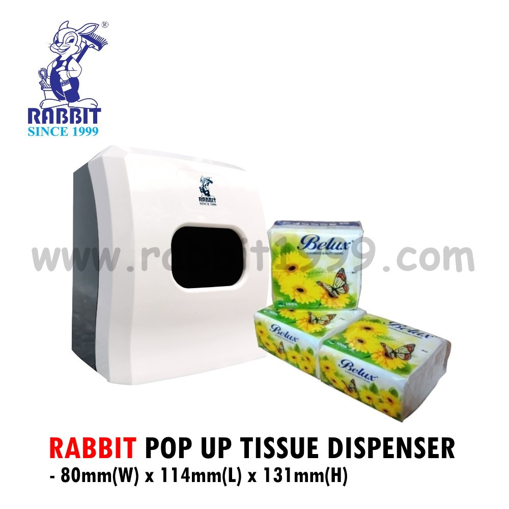RABBIT POP UP TISSUE DISPENSER- white- berkas tisu/ kotak tisu/ tissue dispenser/ tisu dispenser/ 纸巾盒/ kotak tisu