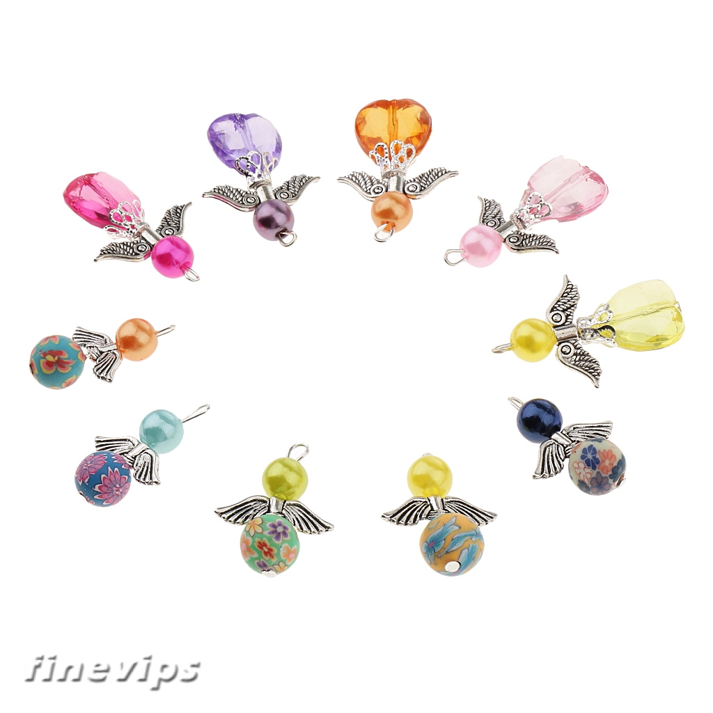 10x Mixed Pearl Clay Angel Wings Charms Findings Jewelry Making Accessories