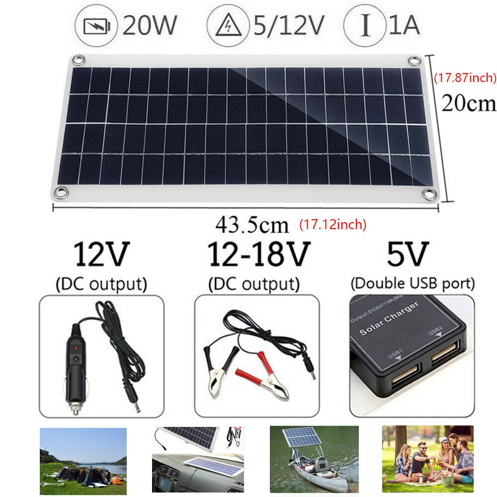 Outdoor Power Supply 20W 12V Car Boat Yacht Solar Panel Trickle Battery Charger