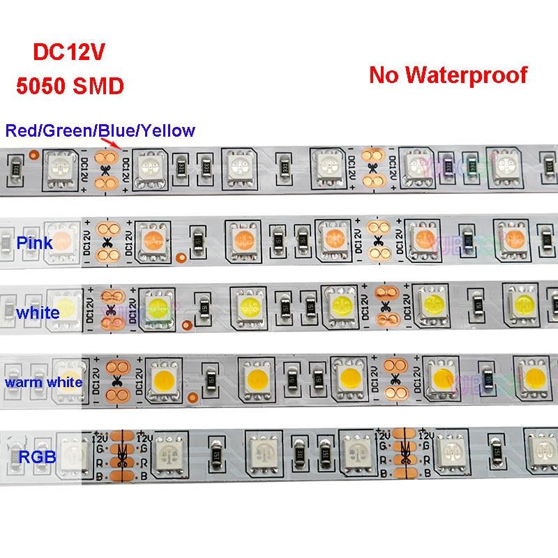 DC12V 1M 5M SMD LED 5050 RGB white 60led//m 300LED Flexible 3M Tape Strip Light