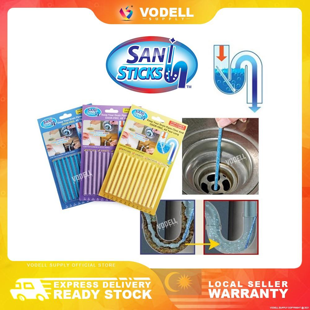 Sani Sticks Drain Cleaner Stick Drain Sticks Deodorizer Bioflow Bathroom Sink Drain Cleaning Tool For Kitchen Shower Shopee Malaysia