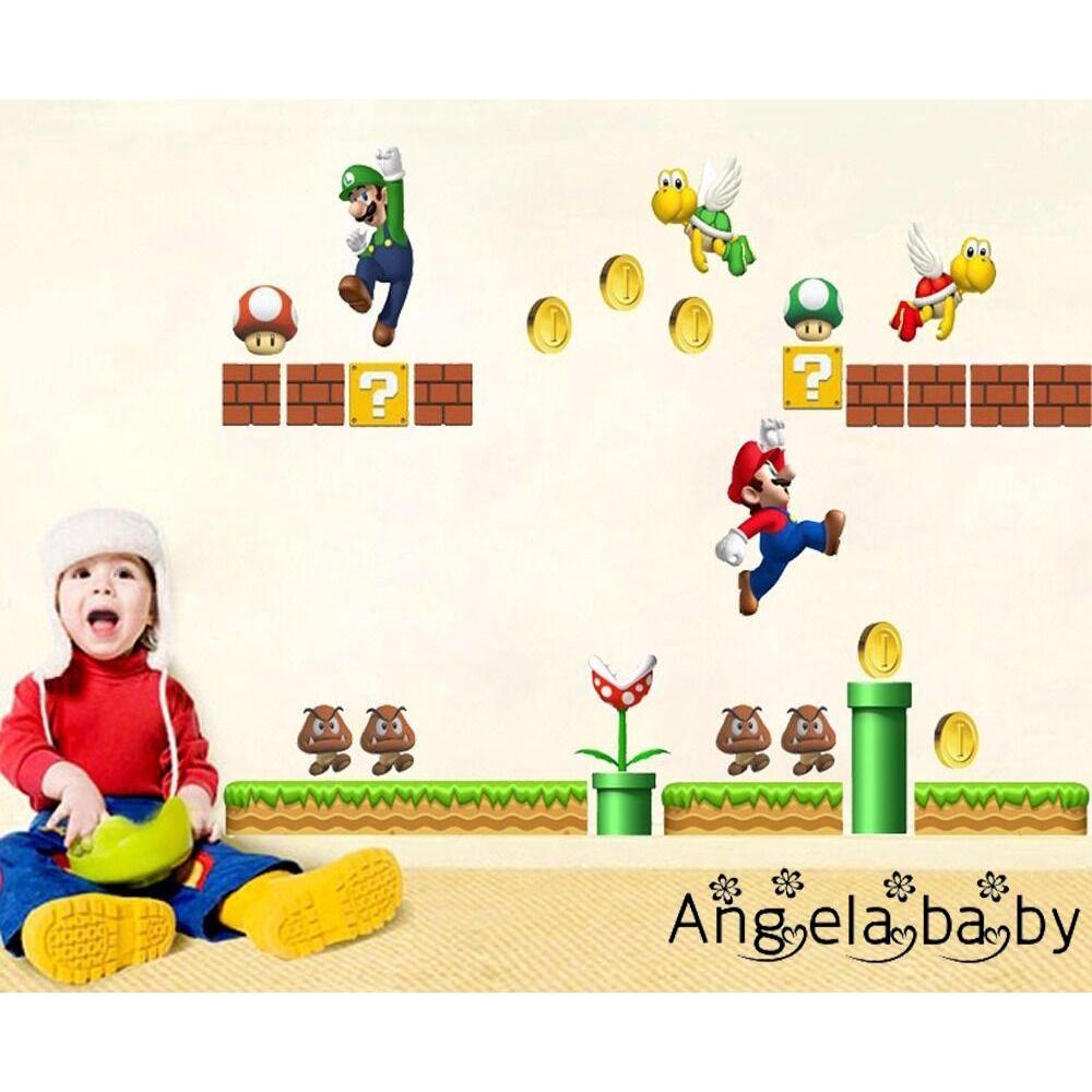 ⓗღ✯Cartoon SUPER MARIO BROS Mural Wall Sticker Removable Decal Children Room