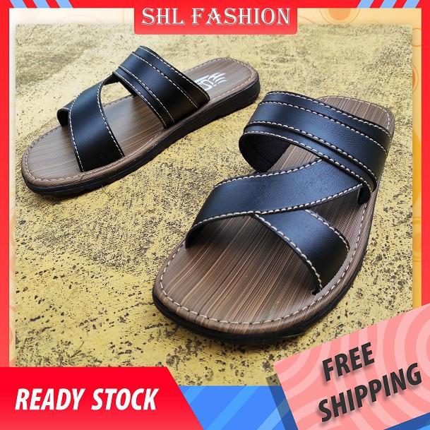 SHL Men PVC Leather/Jean Tape Sandal Slip On Selipar Kasut Lelaki size 39-44【男士拖鞋】-396